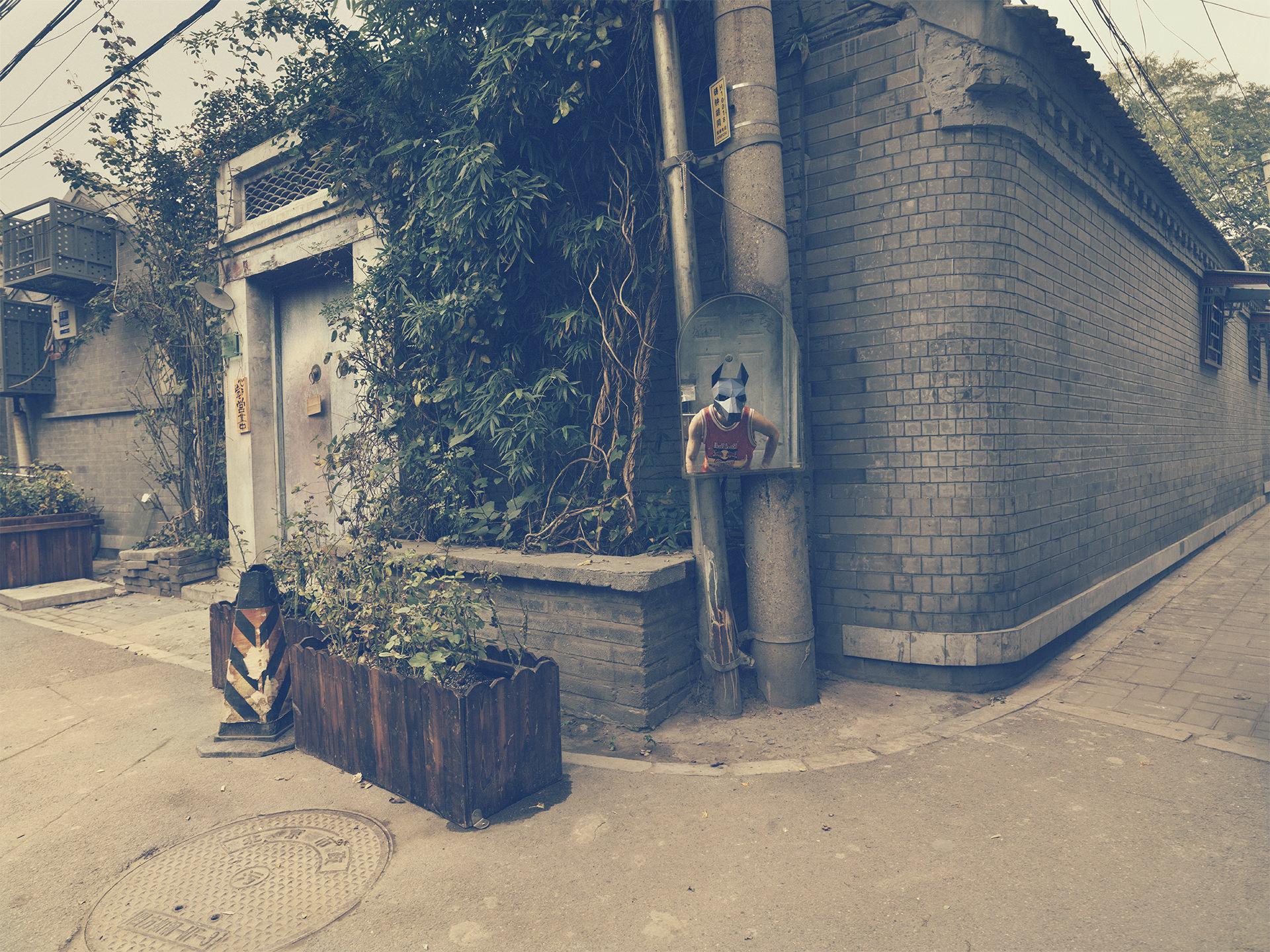 ©ankeluckmann1775, wintercroft, masken, beijing,china, www.ankeluckmann.com, parkour, peking, fine art, personal work, urban, goes awards, hutong, mirror, doberman