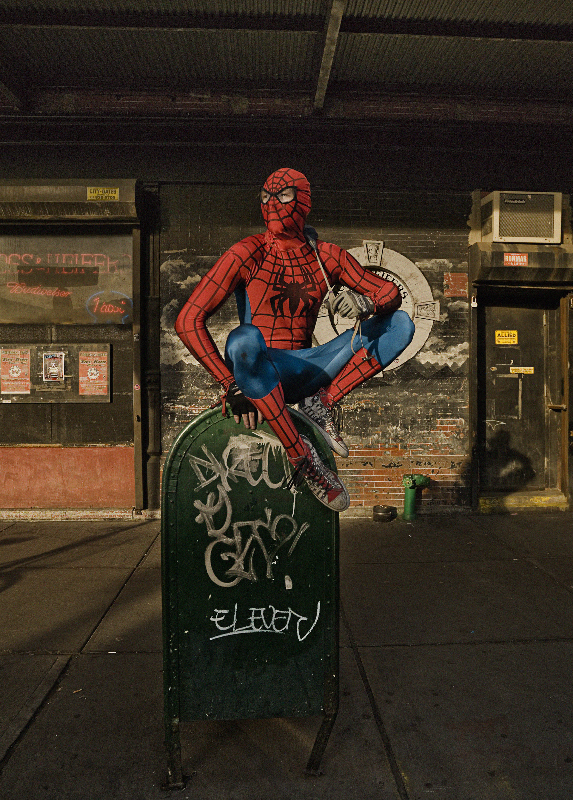 spiderman, portrait, nyc, usa, personal work, red, green