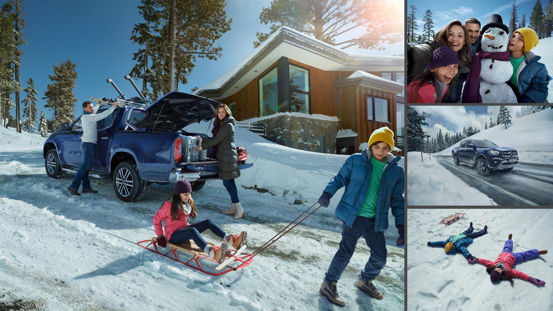 ©ankeluckmann x snow, Mercedes Benz X-Klasse, Anke Luckmann, ©ankeluckmann, campaign, LLR, kai tietz, www.ankeluckmann.com, recom, snow, family